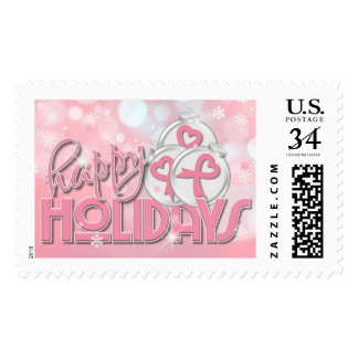 Happy Holidays Breast Cancer Postage Stamp