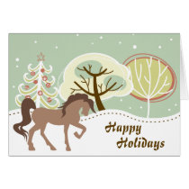 Happy Holidays Brown Horse Snowy Winter Christmas Card