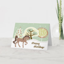 Happy Holidays Brown Horse Snowy Winter Christmas Holiday Card