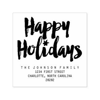 Happy Holidays Brush Script Personalize Self-inking Stamp