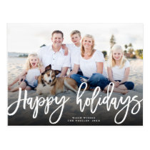 Happy Holidays Brush Script Photo Holiday Postcard