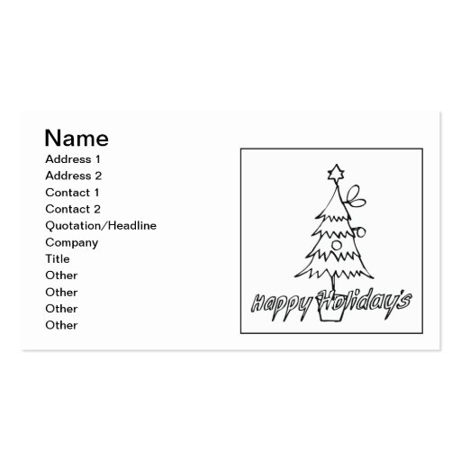 Happy Holidays Double-Sided Standard Business Cards (Pack Of 100)