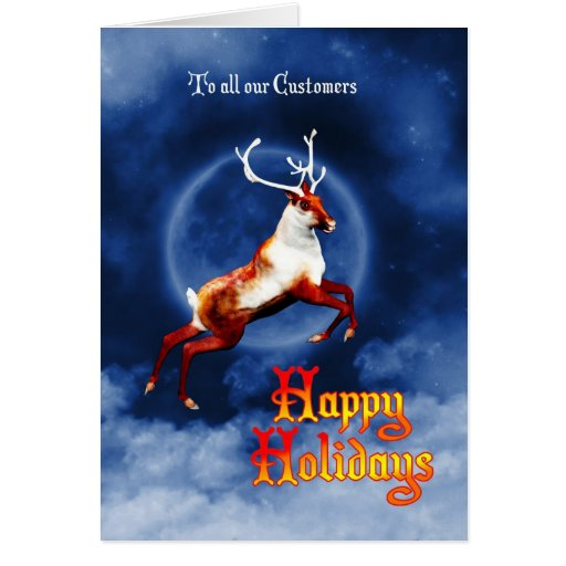 Happy Holidays business card with flying reindeer