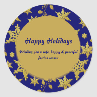 Happy Holidays business closed dates Classic Round Sticker