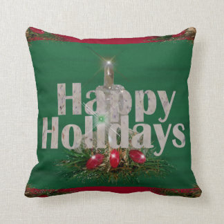 Happy Holidays Candle Shines Pillow