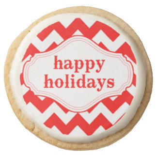 Happy Holidays Candy Cane Colors Round Shortbread Cookie