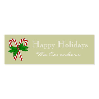Happy Holidays Candy Cane Gift Tags Business Card