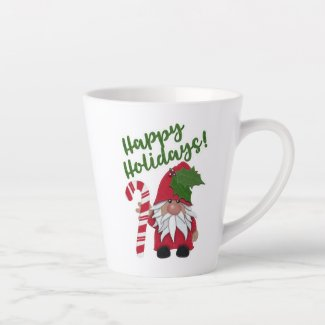 Happy Holidays! Candy Cane Gnome Latte Mug