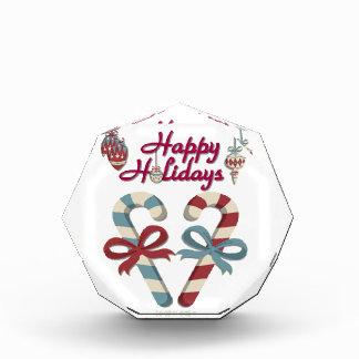 Happy Holidays Candy Cane Heart Acrylic Award