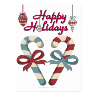 Happy Holidays Candy Cane Heart Postcard
