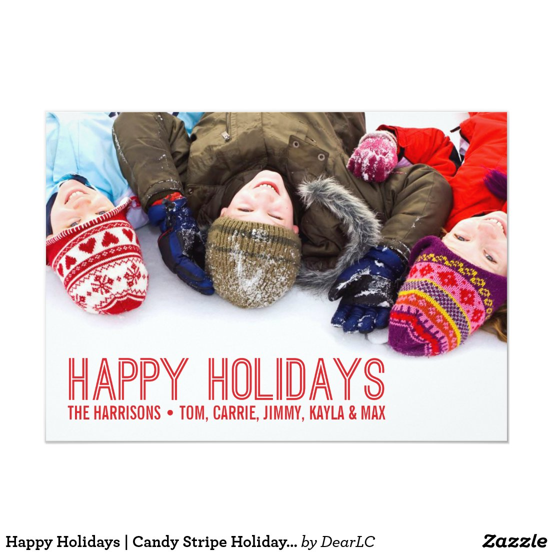 Happy Holidays | Candy Stripe Holiday Photo Card
