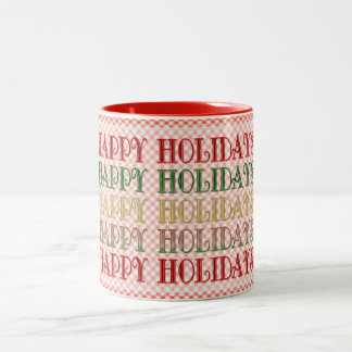Happy Holidays Candy Text Two-Tone Coffee Mug