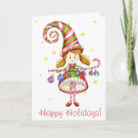 """Happy Holidays Card<br><div class=""""desc"""">A holiday elf holds a candy cane and ornaments. Card has a retro feel to it.  Front of card reads: Happy Holidays Inside of card reads: Wishing you a happy holiday season All text can be easily customized.</div>"""