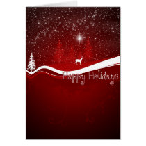 xmas, christmas, december, winter, stars, sky, snow, snowflakes, deer, pine, trees, woods, night, swirls, christmas cards, best, selling, seller, best selling, creative, unique, Card with custom graphic design