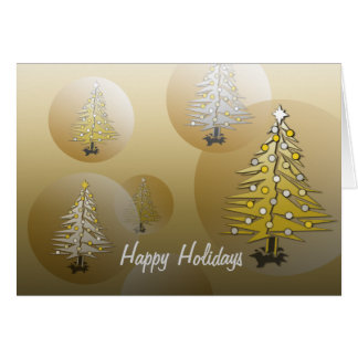 Happy Holidays Card Christmas Tree Gold Globe
