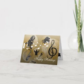 Happy Holidays Card love Music Gold card