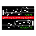 Happy Holidays Card Music Note Score Black