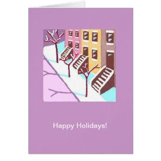 Happy Holidays card (New York City SIde Street)