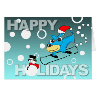 Happy Holidays Card Puppy Snowboard Snowman