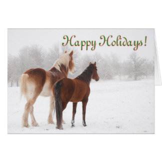 Happy Holidays card with two horses in snow