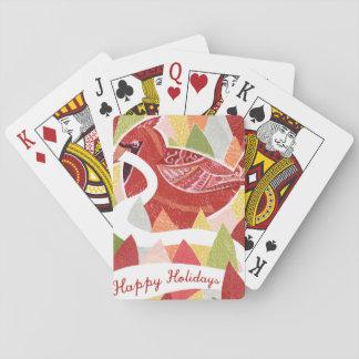 Happy Holidays Cardinal Bird on Christmas Leaves Poker Deck