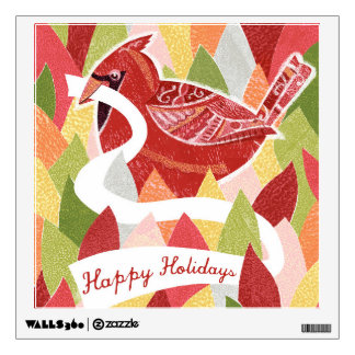 Happy Holidays Cardinal Bird on Christmas Leaves Wall Sticker