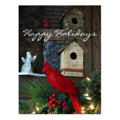 Happy Holidays Cardinal Postcard 2- customize