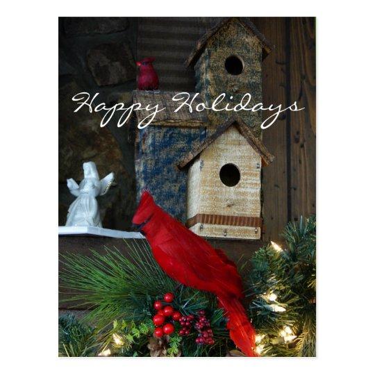 Happy Holidays Cardinal Postcard- customize Postcard