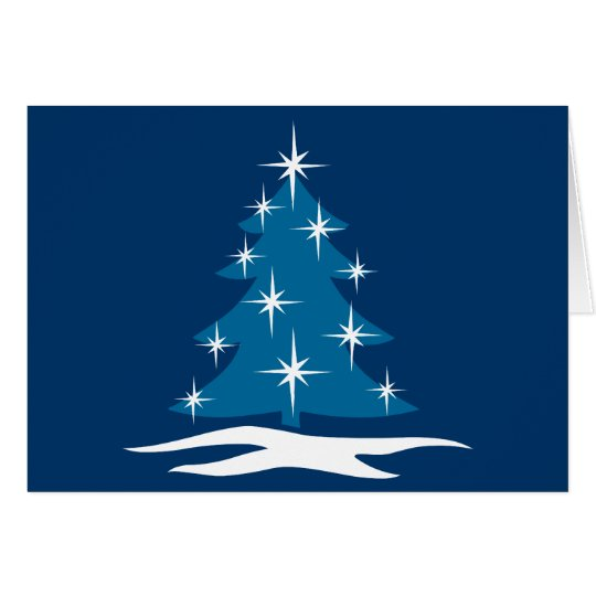 Happy Holidays Cards Classic Blue Tree Card