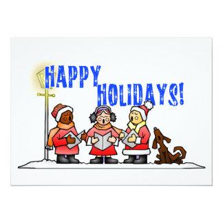 "Happy Holidays - Cartoon Carolers Singing 5.5"" X 7.5"" Invitation Card"