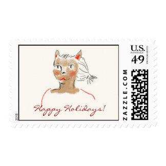 Happy Holidays Cat Postage