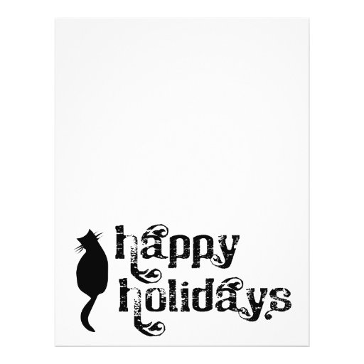 "Happy Holidays Cat Silhouette 8.5"" X 11"" Flyer"