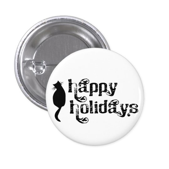 Happy Holidays Cat Silhouette Button