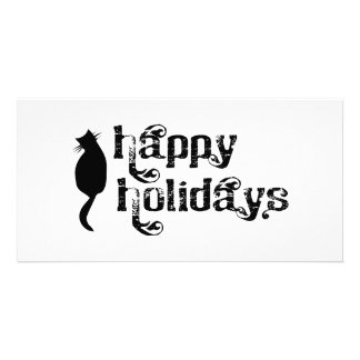 Happy Holidays Cat Silhouette Card