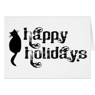 Happy Holidays Cat Silhouette Greeting Card