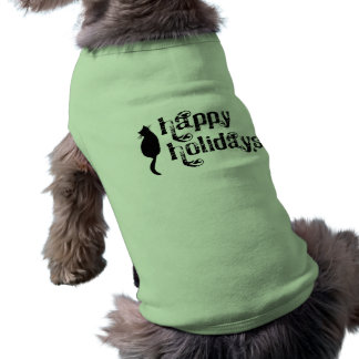 Happy Holidays Cat Silhouette Doggie Shirt