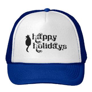 Happy Holidays Cat Silhouette Trucker Hats