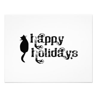 Happy Holidays Cat Silhouette Invitation