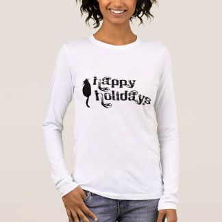Happy Holidays Cat Silhouette Long Sleeve T-Shirt