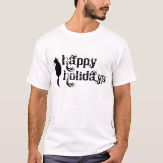 Happy Holidays Cat Silhouette T-Shirt