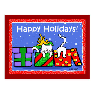 Happy Holidays Cats Post Cards