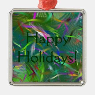 Happy Holidays Celebration Abstract Premium Square Metal Ornament