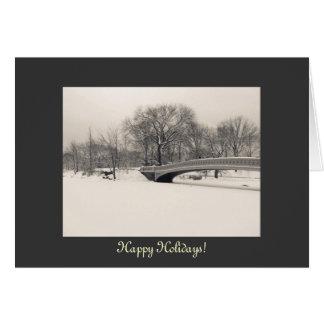 Happy Holidays - Central Park Bow Bridge Winter Card