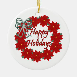 Happy Holidays Ceramic Ornament