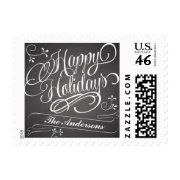 Happy Holidays Chalkboard Calligraphy Postage