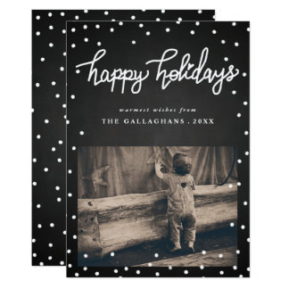 Happy Holidays Chalkboard Handwritten Photo Card