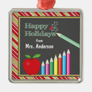 Happy Holidays Chalkboard Teacher Square Metal Christmas Ornament