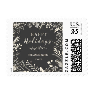 HAPPY HOLIDAYS CHALKBOARD WINTER FOLIAGE POSTCARD POSTAGE