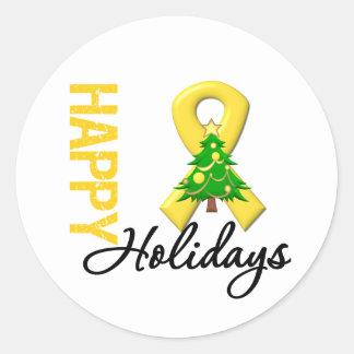 Happy Holidays Childhood Cancer Awareness Classic Round Sticker