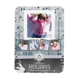 Happy Holidays Christmas 5 Photo Collage Magnet